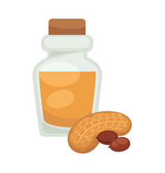 peanut oil in bottle flat isolated icon vector image