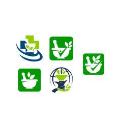 Pharmacy bowl template set vector