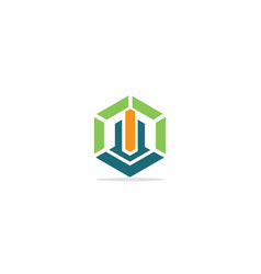 polygon shape line building company logo vector image