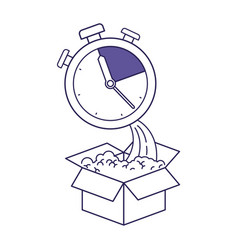 Purple line contour of cardboard box and stopwatch vector