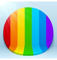 Rainbow stripes 3d plastic circle vector image
