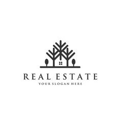 real estate with trees logo vector image