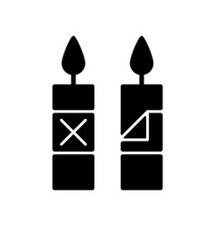 Remove candle packaging before use black glyph vector