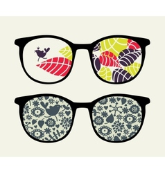 Retro sunglasses with small bird reflection vector image