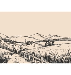 Rural landscape with hills in the graphic style vector image