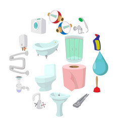 sanitary engineering cartoon icons vector image