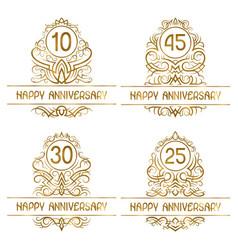 set golden anniversary vintage emblems for ten vector image