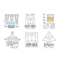 set of promotional cocktail bar signs vector image