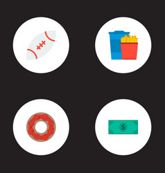 set of usa icons flat style symbols with fast food vector image