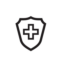 shield protection medical cross black icon design vector image