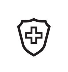shield protection medical cross black icon design vector image