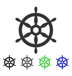 Ship steering wheel flat icon vector