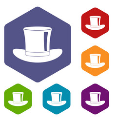 Silk hat icons set hexagon vector