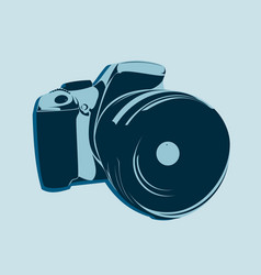 Slr camera logo in blue tones on a light vector