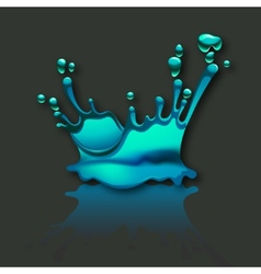Splash water with reflection on gray background vector