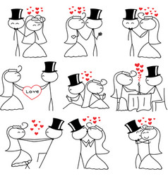 stick figure people love wedding couple valentine vector image