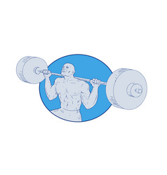 strongman powerlifting barbell drawing vector image
