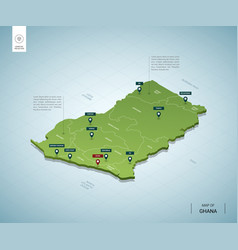 Stylized map ghana isometric 3d green map with vector