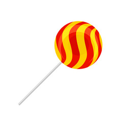 sweet lollipop round red and yellow sugar candy vector image