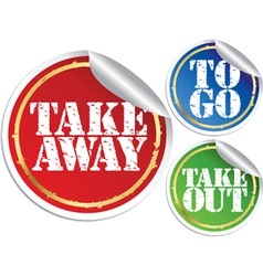 Take away to go and take out grunge stickers vector