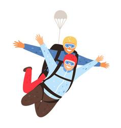 Tandem parachute jump vector