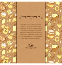 tea and sweets for template card vector image
