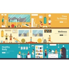 Time To Fitness Wellness Healthy Body flat vector image
