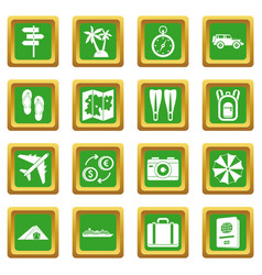 Travel icons set green vector