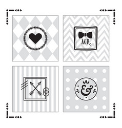 Trendy kids gray patterns with black emblems set vector