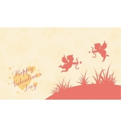 Two cupid on hill valentine landscape vector