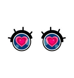 valentines day card cute cartoon eye with heart vector image