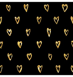 Valentines Day Heart Gold Glitter Pattern vector image