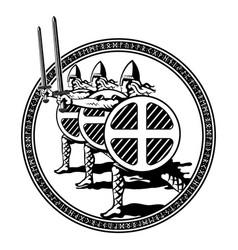 Viking scandinavian design northern warriors vector