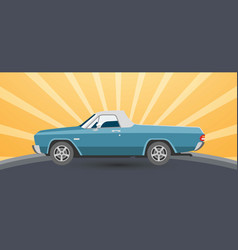 vintage retro pickup car on vector image