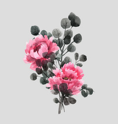 Watercolor chinese rose vector