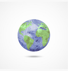 Watercolor earth globe on white vector