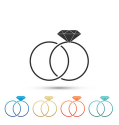 wedding rings icon isolated on white background vector image