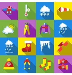 Winter icons set cartoon style vector