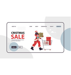 woman in santa claus costume pushing trolley cart vector image