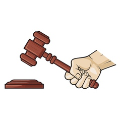 Wooden gavel in hand vector