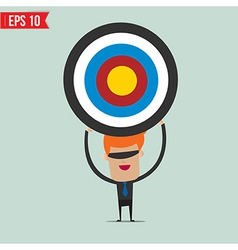 Cartoon business man with the target - - EP vector image vector image