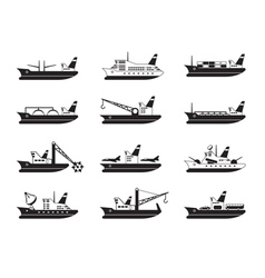 Diverse commercial and passenger ships vector image vector image