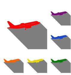 flying plane sign side view set of red orange vector image