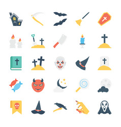 halloween colored icons 1 vector image