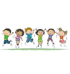 Happy children jumping vector image vector image