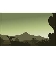 Silhouette of eoraptor in hills vector image vector image