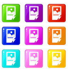 tested ink paper with printer marks icons 9 set vector image vector image