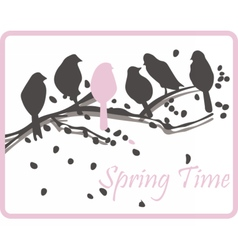 Watercolor background with birds on tree vector