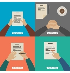 Business hands in flat style vector image