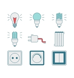 line style icons of electricity tools vector image